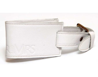 Genuine leather 'Mr and Mrs' luggage tag in white