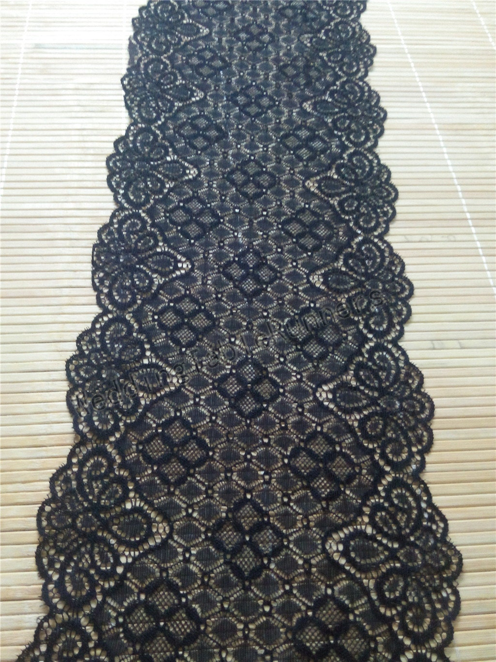 Black lace table runner 7 wedding table by weddingtablerunners