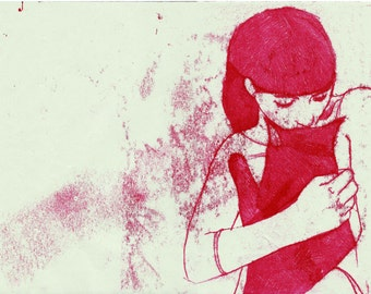 BACK HOME, Monotype, Illustration, Fine art print