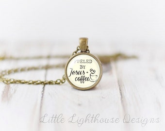 Petite Fueled By Jesus And Coffee Necklace Petite Pendant Jesus and Coffee Pendant Christian Jewelry Mother's Day Gift