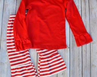 Monogrammed Red Striped Ruffle Pants Outfit