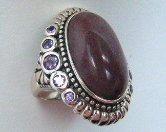 Aventurine Ring Purple Aventurine Ring Unique Silver Statement Ring Aventurine Amethyst Ring Right Hand Stone Ring Chunky Statement Ring