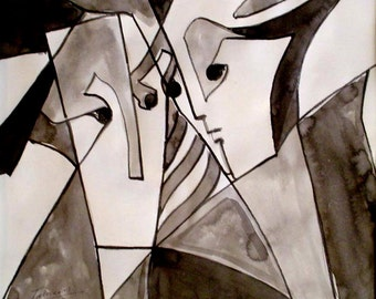 Eyes Conversation - An Original One-of-a-Kind Drawing / Art Piece / Wall Decor by Arseen Macklin @Claycanvasshop