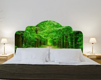 ON SALE - Headboards - Green Forest Headboard - Wall Sticker - Headboard Stickers - Headboard Wall Decals - Couple Bed or Single Bed