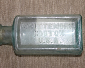 c1920s Whittemore Boston U.S.A., Clear Cork Top Shoe Polish Bottle with Original Cork Top