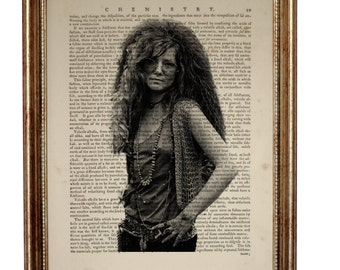 Janis Joplin Art Print on Vintage Dictionary Page, Vintage Dictionary Art Print, Upcycled Book 8 x 10 inches