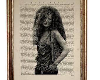 Janis Joplin Art Print on Vintage Dictionary Page, Vintage Dictionary Art Print, Upcycled Book 8 x 10 inches