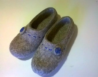 Natural Wool Felted Slippers