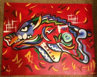Hog Wild Acrylic Painting