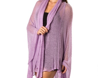 Prema Sheer Jacket Wrap in Purple Violet, Lightweight Open Knit, Mesh. Cozy yet sexy and feminine, wrap yourself in comfort!