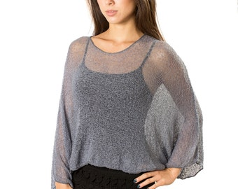 Steel Blue Grey #108 Prema Beach Cover-up Tunic Top for Women, Lightweight Dolman Sleeve Sweater Top, Woven Open Knit Mesh Sheer Cover-up