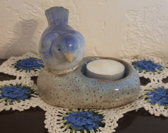 Exquisite Porcelain Bluebird Tea Candle Holder
