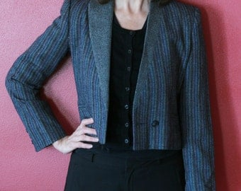Gray Cropped Wool Blazer With Colorful Stripes Size Small // Adolfo Esprit Button Down Jacket