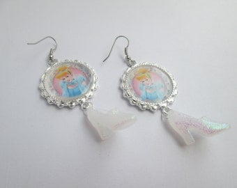 Cinderella  earrings on Surgical Steel Wires / Item A054