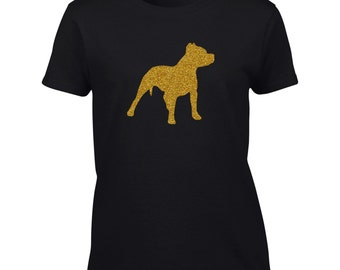 Pitbull T-Shirt.  Gold Black Glitter.  Pitbull Gold Glitter.  PitBull Glitter Shirt.  Dog Shirt.  Pit Bull Tee Shirt.  Dog Silhouette Shirt