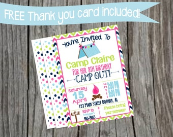 Camping birthday party invitation, Campout birthday ideas, Campout Invitation, Camp birthday invitations, Glamping invites