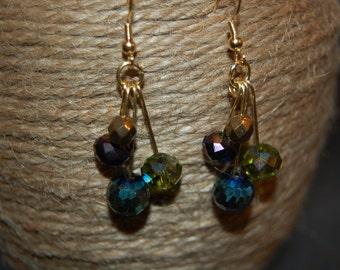 green, blue, purple metallic iridescent dangle earrings on gold hooks
