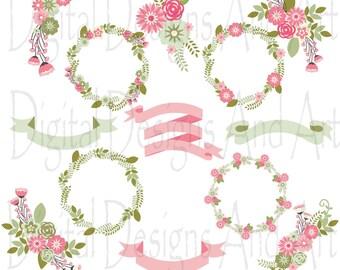 Floral wedding clipart, Flower clipart, Flowers digital clip art, Floral wreath, Flower ribbons, Invitation Label, Pink flower, Green flower