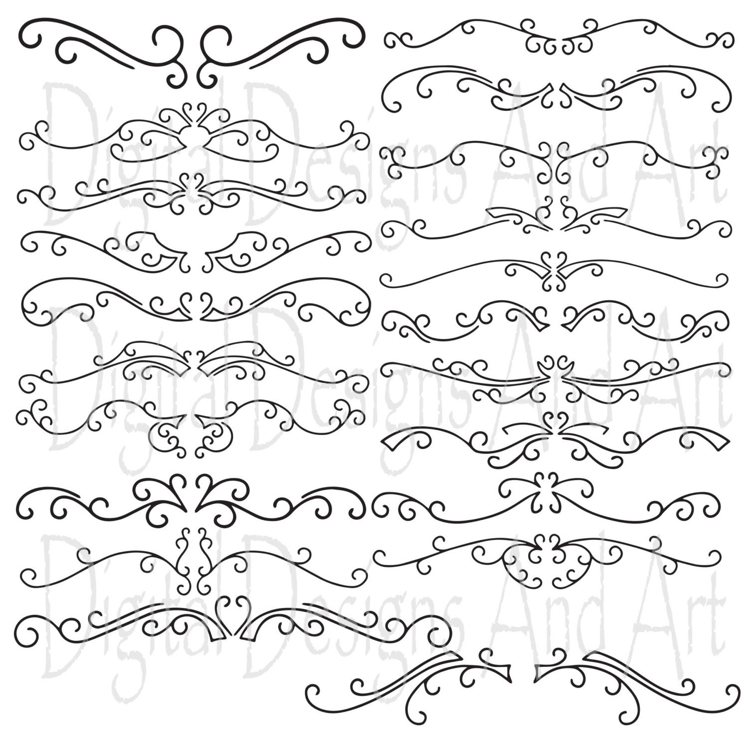 Swirl Borders For Wedding Invitations: Text Dividers Swirl Clipart Frames Wedding Clip Art