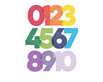 Modern Numbers print #1 | Rainbow | 8x10 | 16x20 | digital download | printable