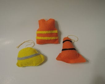Construction ornaments, 3 piece set