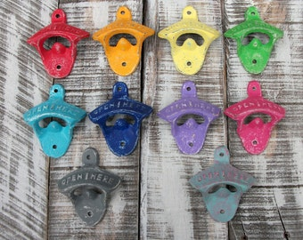10 COLORS Shabby Cast Iron Bottle Opener Wall Mount Man Cave Kitchen Decor Outdoor Fixture Gift For Him Rustic Party Favor