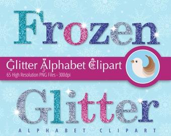 Frozen Glitter Alphabet Clipart - Glitter Alphabet Clipart - Frozen Alphabet Clipart - Set of 65 Clipart Designs