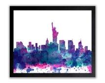 New York Art Print - Abstract Watercolor New York Wall Art - New York City Poster - Manhattan - Anniversary  Gift