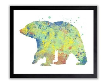 Bear Watercolor, Abstract Painitng, Watercolor Spashes, Bear Nursery Art, Woodland Nursery Decor, Primary Colors, WA071