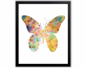 Watercolor Butterfly, Abstract Butterflies, Contemporary Art, Pink, Yellow and Blue, Baby Girl, Nursery Decor, BU002