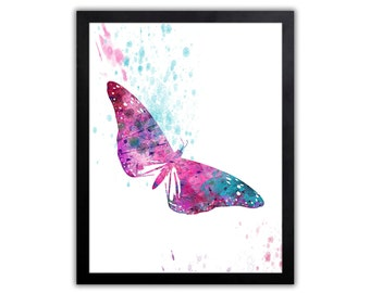 Butterfly Decor - Butterfly Art Print - Butterfly Drawing - Abstract Watercolor - Poster Art - Wall Hanging - BU014