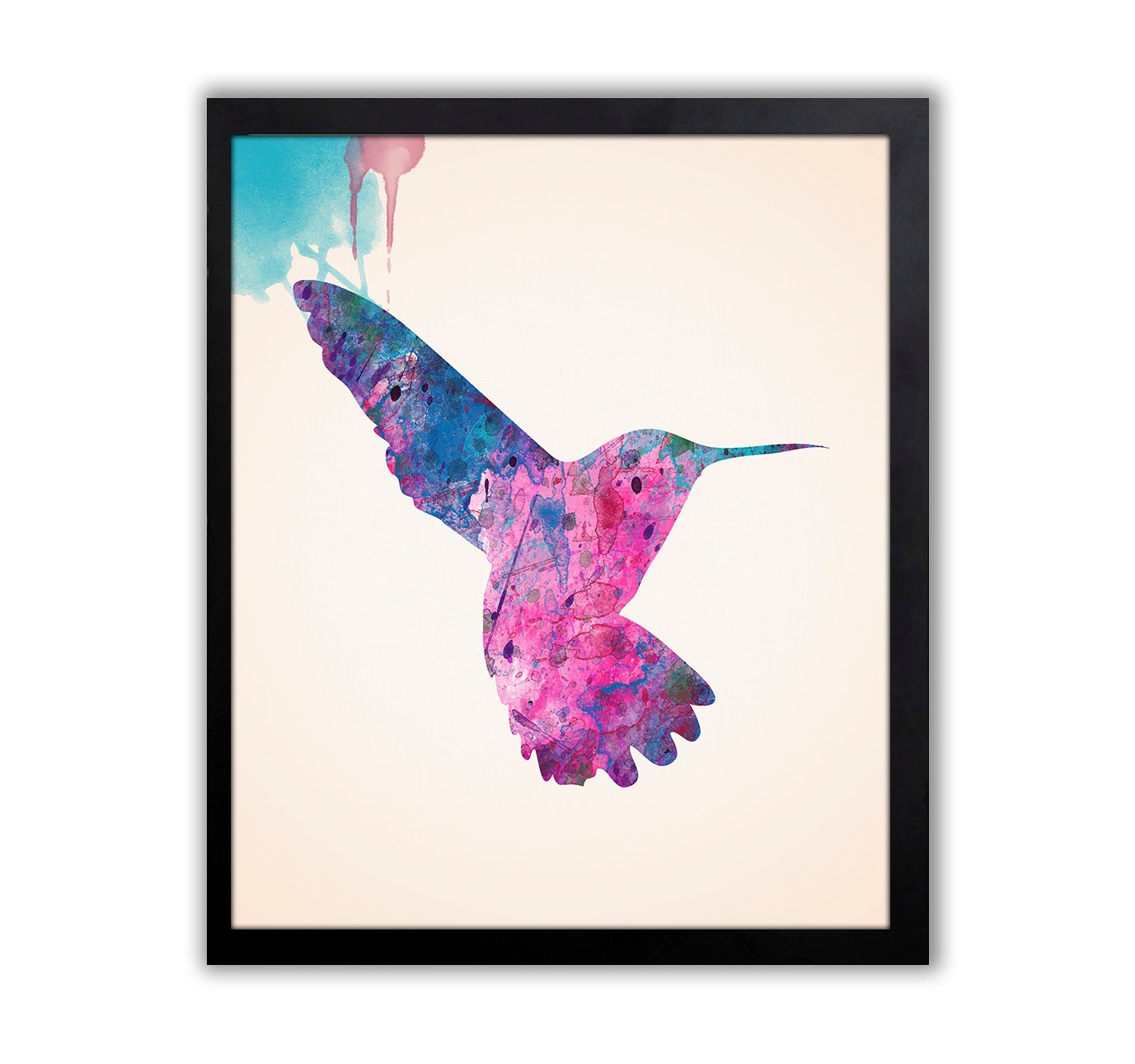 Hummingbird watercolor wall art bird home decor for Hummingbird decor