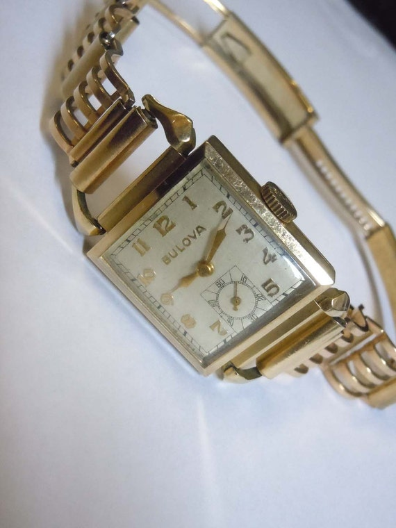 Mens 40s Deco Bulova 10kt Rolled Gold Wristwatch Hadley Band