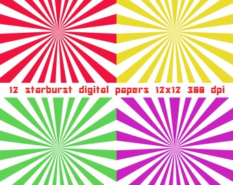 Star Burst Digital Paper Commercial Use Scrapbooking Paper Instant Download
