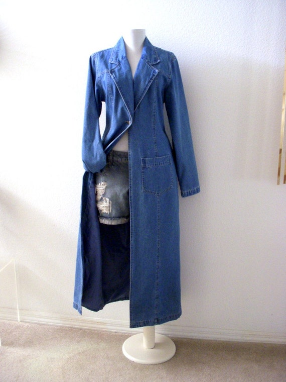 90s Blue Denim Duster Coat Vintage Blue Jean Long Duster