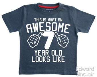 This is what an awesome 7 year old looks like. Boys 7th Birthday T-shirt