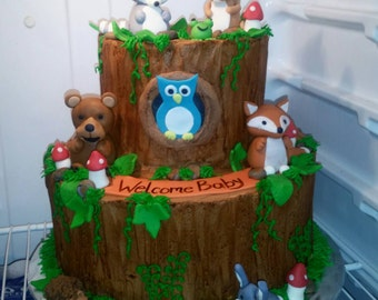Handmade Fondant Woodland Animals Cake Topper Set