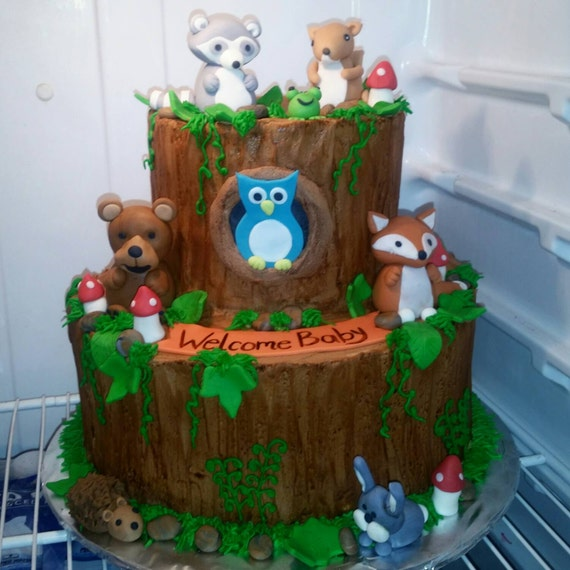Cake Decoration Woodland Animals : Handmade Fondant Woodland Animals Cake Topper Set