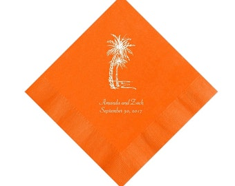Palm Trees Beach Wedding Napkins Personalized Set of 100 Napkins