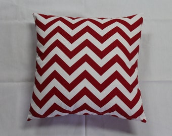 Red and White Chevron Pillow Cover--Decorator Pillow Cover-You Choose Size