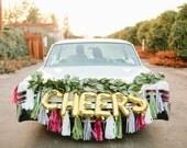 CHEERS letter balloons Full Tassel Garland - gold or silver foil mylar letters