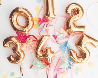 Mini Number Balloon Inflated with Cup & Stick - gold foil mylar with tassels - cake topper table number