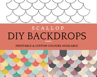 Multicoloured Photo Booth Backdrop – An easy printable DIY scalloped photobooth background props for birthdays, showers and parties!
