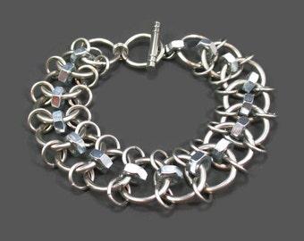 Hardware bracelet, Hex nut bracelet, Hefty men's jewelry, Masculine bracelet, Industrial jewelry, Men's chain bracelet, Metal bracelet, Goth
