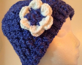 Womens Crochet Hat and Scarf with Flower