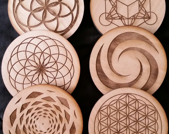 Sacred Geometry, Water Energizing, Coasters, Metatron's Cube, Sead of Life, Fibonacci, Tube Torus, solid wood coasters
