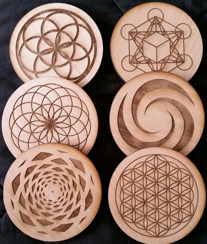Sacred Geometry, Water Energizing, Coasters, Metatron's Cube, Sead of Life, Fibonacci, Tube Torus, solid wood coasters