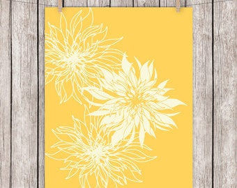 Floral Printable Art, Mustard Yelllow Flowers Flower Art Print, Wall Decor, Wall Art 8 x 10 Instant Download Digital File