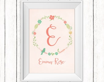 Nursery Printable Art Monogram Floral Wreath Personalized Nursery Name Art Print 8x10 Digital Print Choose Size