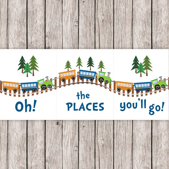 oh the places you ll go coloring pages - nursery printable art train triptych oh the places you 39 ll